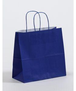 Papiertragetaschen mit gedrehter Papierkordel blau 25 x 11 x 24 cm, 050 Stück