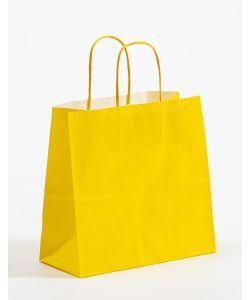 Papiertragetaschen mit gedrehter Papierkordel gelb 25 x 11 x 24 cm, 025 Stück