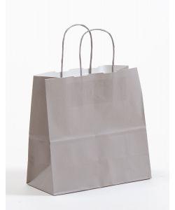 Papiertragetaschen mit gedrehter Papierkordel grau 25 x 11 x 24 cm, 100 Stück