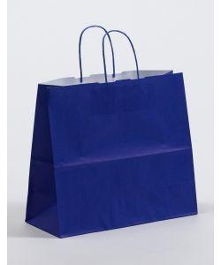 Papiertragetaschen mit gedrehter Papierkordel blau 32 x 13 x 28 cm, 025 Stück