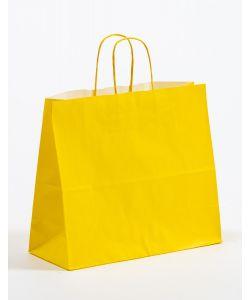Papiertragetaschen mit gedrehter Papierkordel gelb 32 x 13 x 28 cm, 200 Stück
