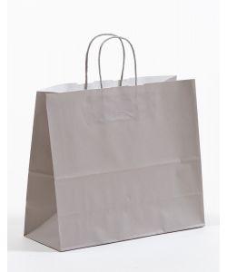 Papiertragetaschen mit gedrehter Papierkordel grau 32 x 13 x 28 cm, 100 Stück