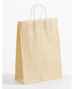 Papiertragetaschen mit gedrehter Papierkordel ivory-beige 32 x 13 x 42,5 cm, 150 Stück
