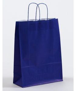 Papiertragetaschen mit gedrehter Papierkordel blau 32 x 13 x 42,5 cm, 200 Stück