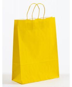 Papiertragetaschen mit gedrehter Papierkordel gelb 32 x 13 x 42,5 cm, 050 Stück