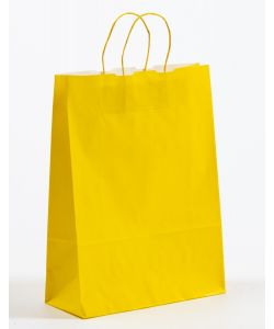 Papiertragetaschen mit gedrehter Papierkordel gelb 32 x 13 x 42,5 cm, 150 Stück