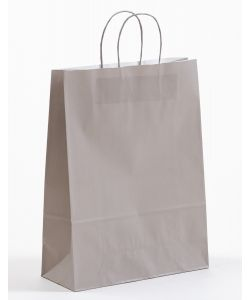 Papiertragetaschen mit gedrehter Papierkordel grau 32 x 13 x 42,5 cm, 200 Stück