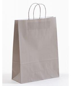 Papiertragetaschen mit gedrehter Papierkordel grau 32 x 13 x 42,5 cm, 150 Stück