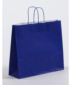 Papiertragetaschen mit gedrehter Papierkordel blau 42 x 13 x 37 cm, 050 Stück