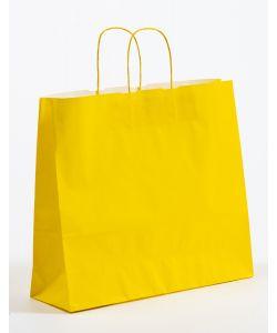 Papiertragetaschen mit gedrehter Papierkordel gelb 42 x 13 x 37 cm, 100 Stück
