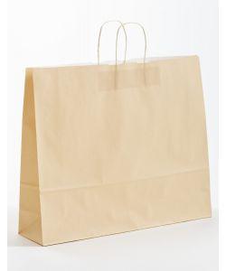 Papiertragetaschen mit gedrehter Papierkordel ivory-beige 54 x 14 x 45 cm, 100 Stück