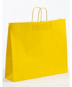 Papiertragetaschen mit gedrehter Papierkordel gelb 54 x 14 x 45 cm, 025 Stück