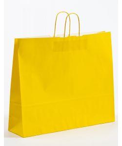 Papiertragetaschen mit gedrehter Papierkordel gelb 54 x 14 x 45 cm, 050 Stück