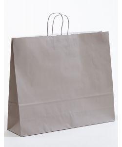 Papiertragetaschen mit gedrehter Papierkordel grau 54 x 14 x 45 cm, 125 Stück