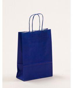 Papiertragetaschen mit gedrehter Papierkordel blau 18 x 8 x 25 cm, 300 Stück