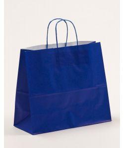 Papiertragetaschen mit gedrehter Papierkordel blau 32 x 13 x 28 cm, 250 Stück