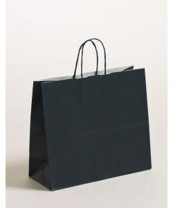 Papiertragetaschen mit gedrehter Papierkordel dunkelblau 32 x 13 x 28 cm, 250 Stück