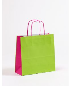 Papiertragetaschen mit gedrehter Papierkordel grün/pink 27 x 11 x 26 cm, 150 Stück