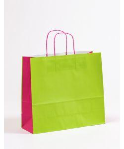 Papiertragetaschen mit gedrehter Papierkordel grün/pink 36 x 12 x 31 cm, 200 Stück
