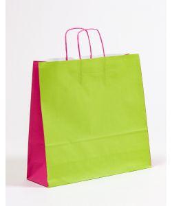 Papiertragetaschen mit gedrehter Papierkordel grün/pink 40 x 12 x 36 cm, 150 Stück