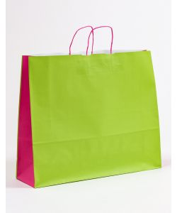 Papiertragetaschen mit gedrehter Papierkordel grün/pink 54 x 15 x 44 cm, 025 Stück