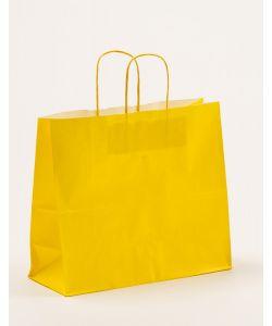 Papiertragetaschen mit gedrehter Papierkordel gelb 32 x 13 x 28 cm, 250 Stück