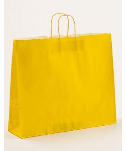 Papiertragetaschen mit gedrehter Papierkordel gelb 54 x 14 x 45 cm, 125 Stück