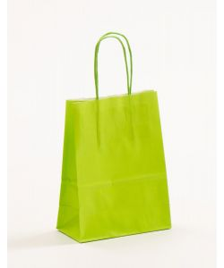 Papiertragetaschen mit gedrehter Papierkordel hellgrün 15 x 8 x 20 cm, 050 Stück