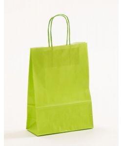 Papiertragetaschen mit gedrehter Papierkordel hellgrün 18 x 8 x 25 cm, 100 Stück