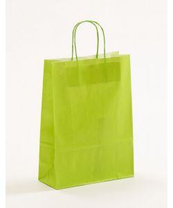 Papiertragetaschen mit gedrehter Papierkordel hellgrün 23 x 10 x 32 cm, 050 Stück