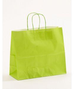 Papiertragetaschen mit gedrehter Papierkordel hellgrün 32 x 13 x 28 cm, 150 Stück