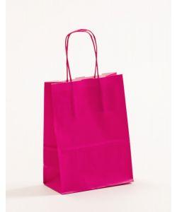 Papiertragetaschen mit gedrehter Papierkordel pink-magenta 15 x 8 x 20 cm, 500 Stück