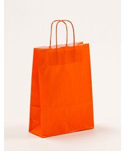 Papiertragetaschen mit gedrehter Papierkordel orange 23 x 10 x 32 cm, 250 Stück