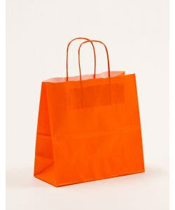 Papiertragetaschen mit gedrehter Papierkordel orange 25 x 11 x 24 cm, 250 Stück
