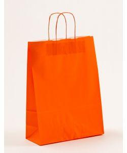 Papiertragetaschen mit gedrehter Papierkordel orange 32 x 13 x 42,5 cm, 250 Stück