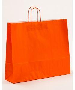 Papiertragetaschen mit gedrehter Papierkordel orange 54 x 14 x 45 cm, 125 Stück
