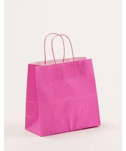 Papiertragetaschen mit gedrehter Papierkordel pink 25 x 11 x 24 cm, 250 Stück