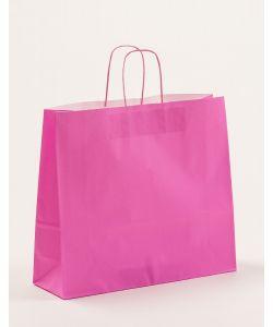 Papiertragetaschen mit gedrehter Papierkordel pink 42 x 13 x 37 cm, 150 Stück