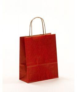 Papiertragetaschen mit gedrehter Papierkordel rot 18 x 8 x 22 cm, 100 Stück