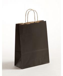Papiertragetaschen mit gedrehter Papierkordel schwarz 22 x 10 x 31 cm, 250 Stück