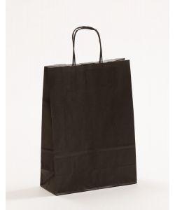 Papiertragetaschen mit gedrehter Papierkordel schwarz 23 x 10 x 32 cm, 025 Stück