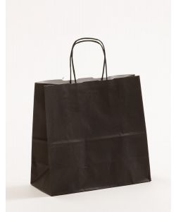 Papiertragetaschen mit gedrehter Papierkordel schwarz 25 x 11 x 24 cm, 250 Stück