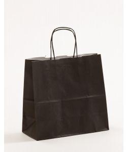 Papiertragetaschen mit gedrehter Papierkordel schwarz 25 x 11 x 24 cm, 025 Stück