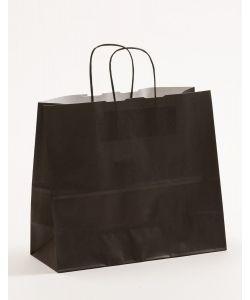 Papiertragetaschen mit gedrehter Papierkordel schwarz 32 x 13 x 28 cm, 025 Stück