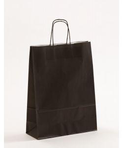 Papiertragetaschen mit gedrehter Papierkordel schwarz 32 x 13 x 42,5 cm, 050 Stück