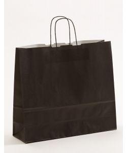 Papiertragetaschen mit gedrehter Papierkordel schwarz 42 x 13 x 37 cm, 025 Stück