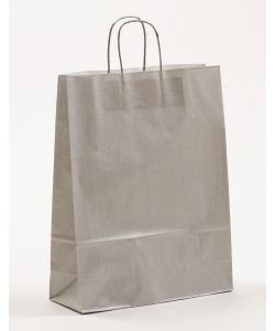 Papiertragetaschen mit gedrehter Papierkordel silber 32 x 12 x 41 cm, 200 Stück