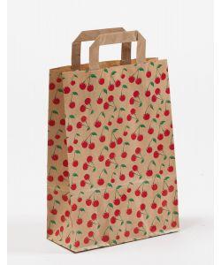 Papiertragetaschen mit Flachhenkel Cherry 22 x 10 x 31 cm, 100 Stück