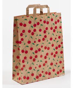 Papiertragetaschen mit Flachhenkel Cherry 32 x 12 x 40 cm, 150 Stück
