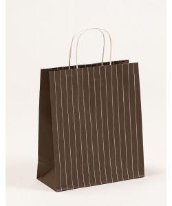 Papiertragetaschen mit Nadelstreifen graubraun 26 x 11 x 30 + 56 cm, 200 Stück